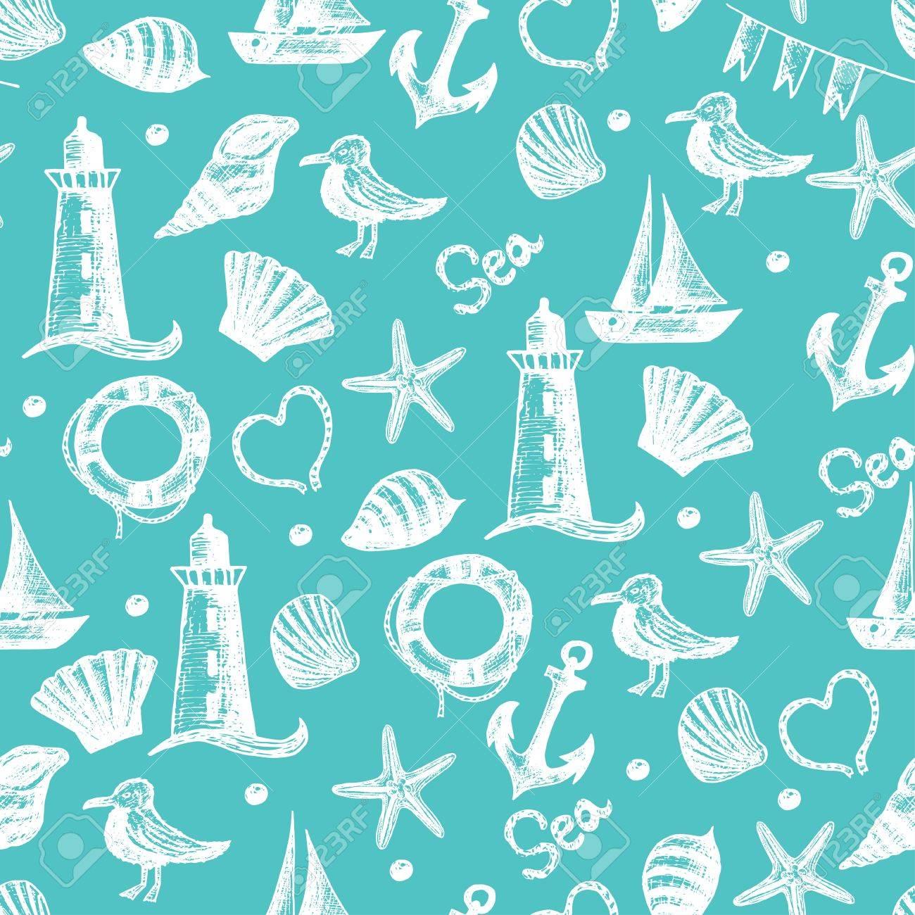 Vettoriale Seamless Pattern Disegnati A Mano Sul Mare Di Oggetti A