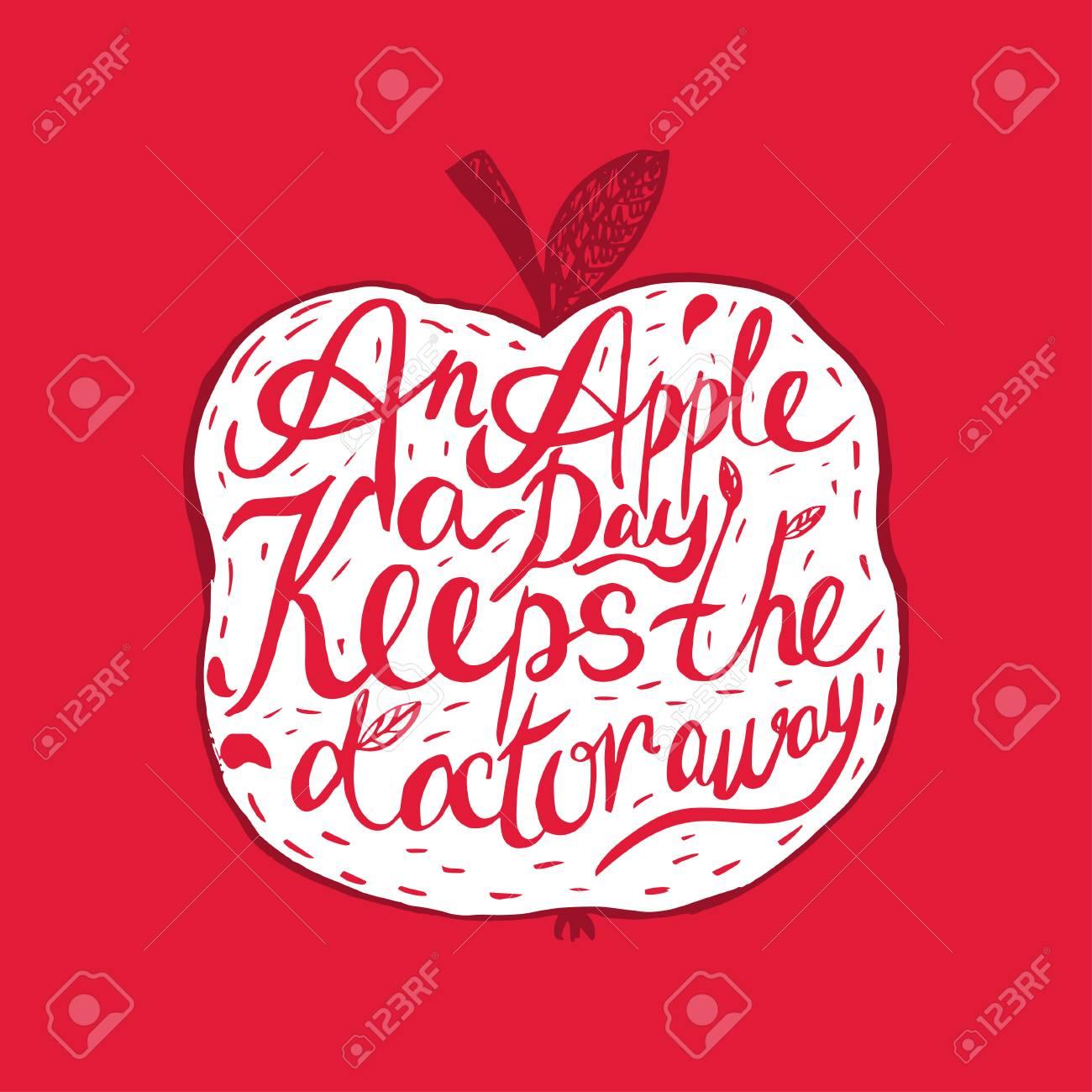 Hand Drawn Citation De Motivation Cru Sur La Sante Et La Pomme