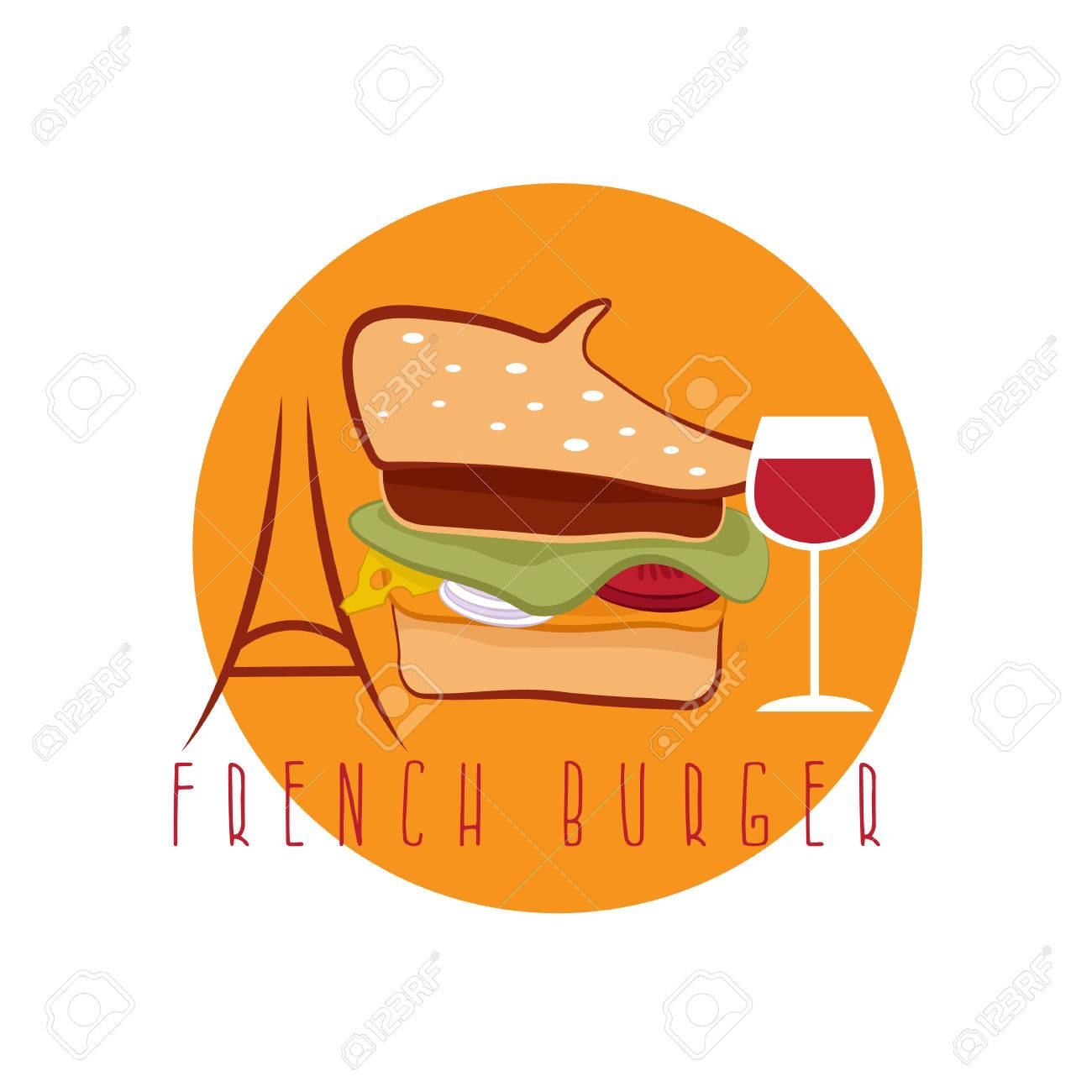 french burger concept with beret hat eiffel tower and wine vector