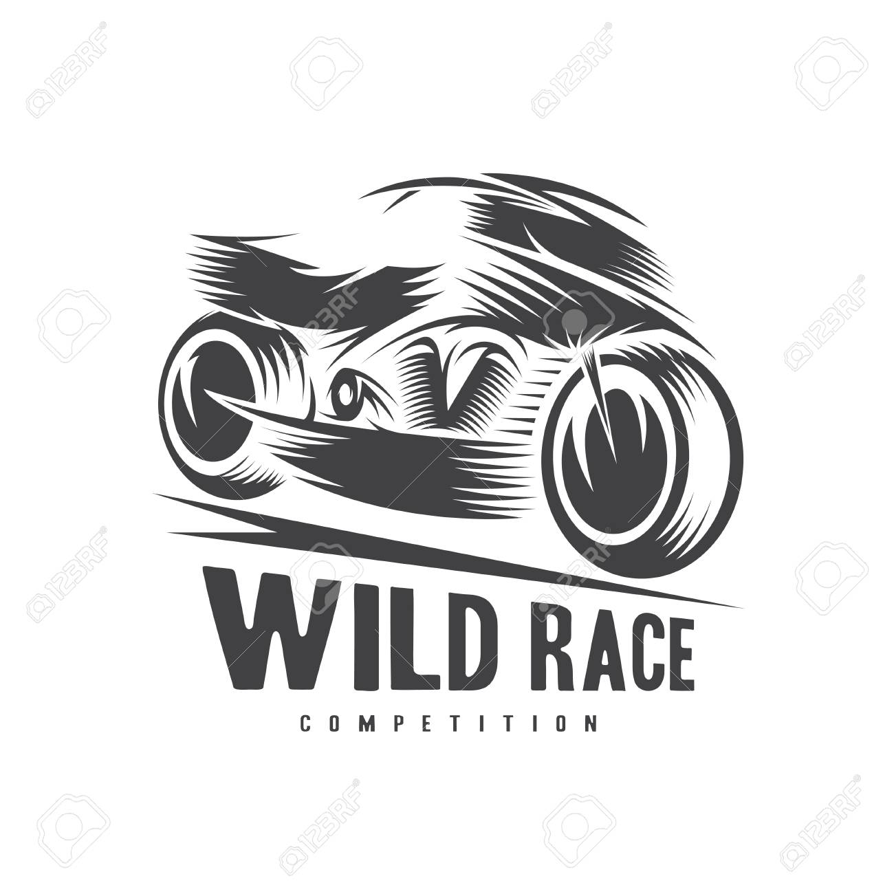 high speed motorcycle vector illustration design template royalty