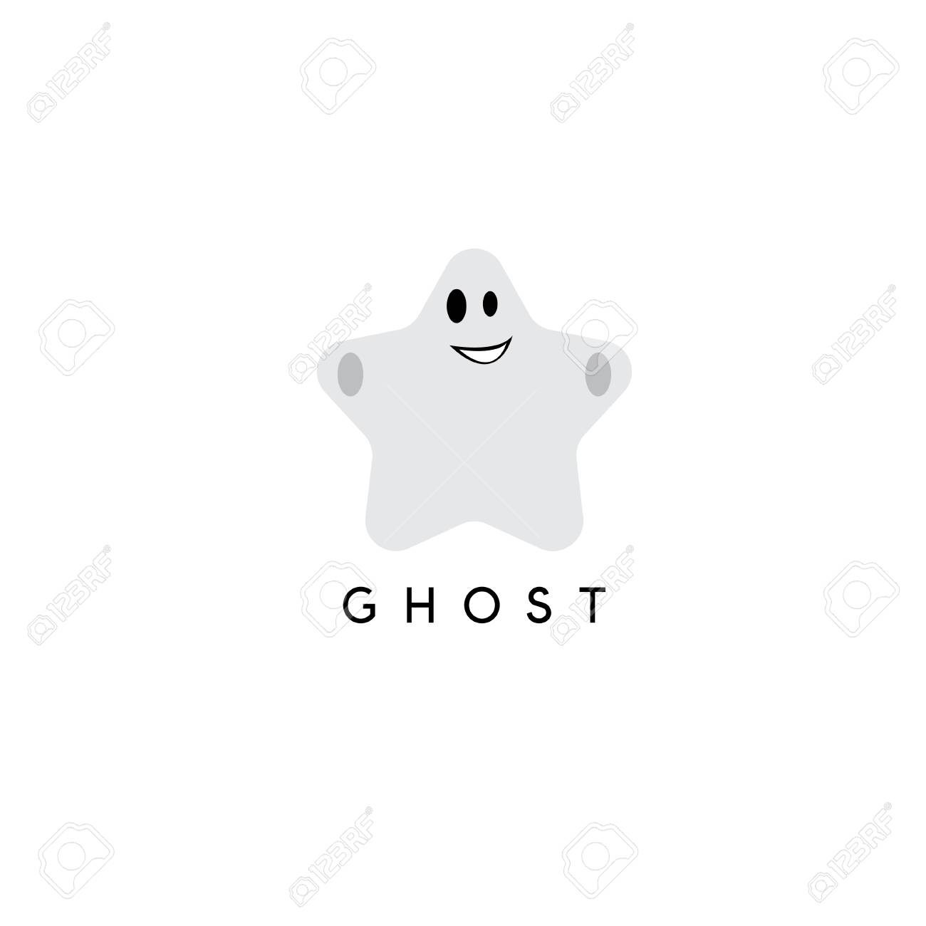 Abstract Vector Design Template Of Ghost In A Form Of Star Royalty