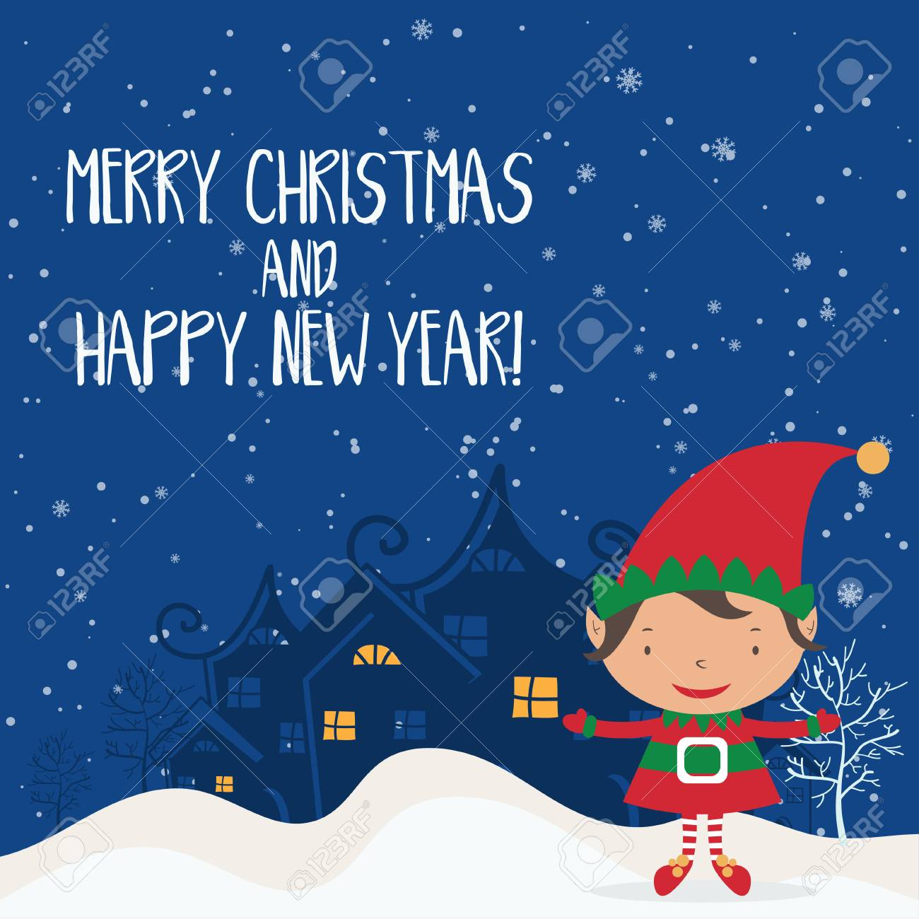 Cartoon illustration for holiday theme with elf on winter background cartoon illustration for holiday theme with elf on winter background greeting card for merry christmas m4hsunfo