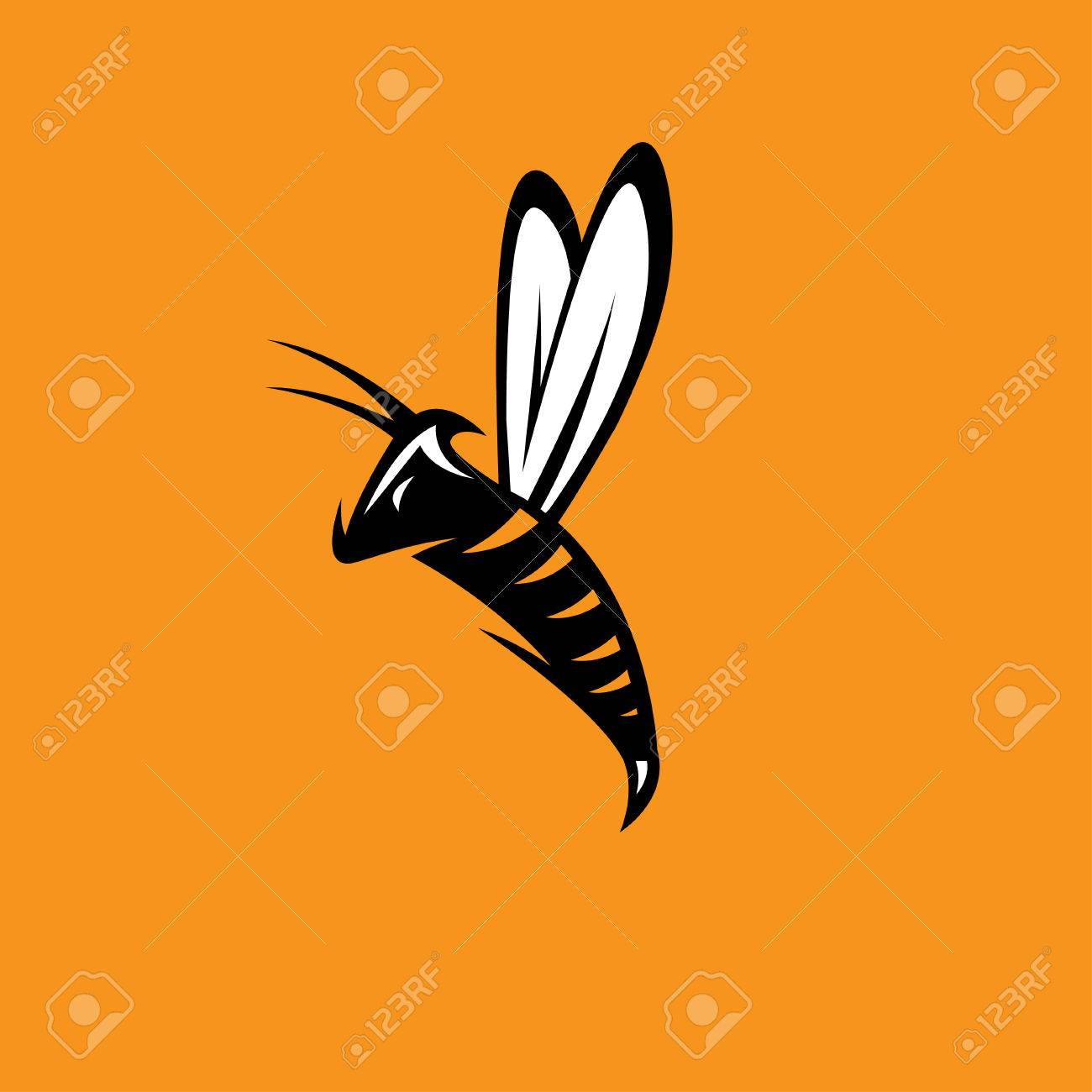 agressive bee or wasp mascot vector design template royalty free