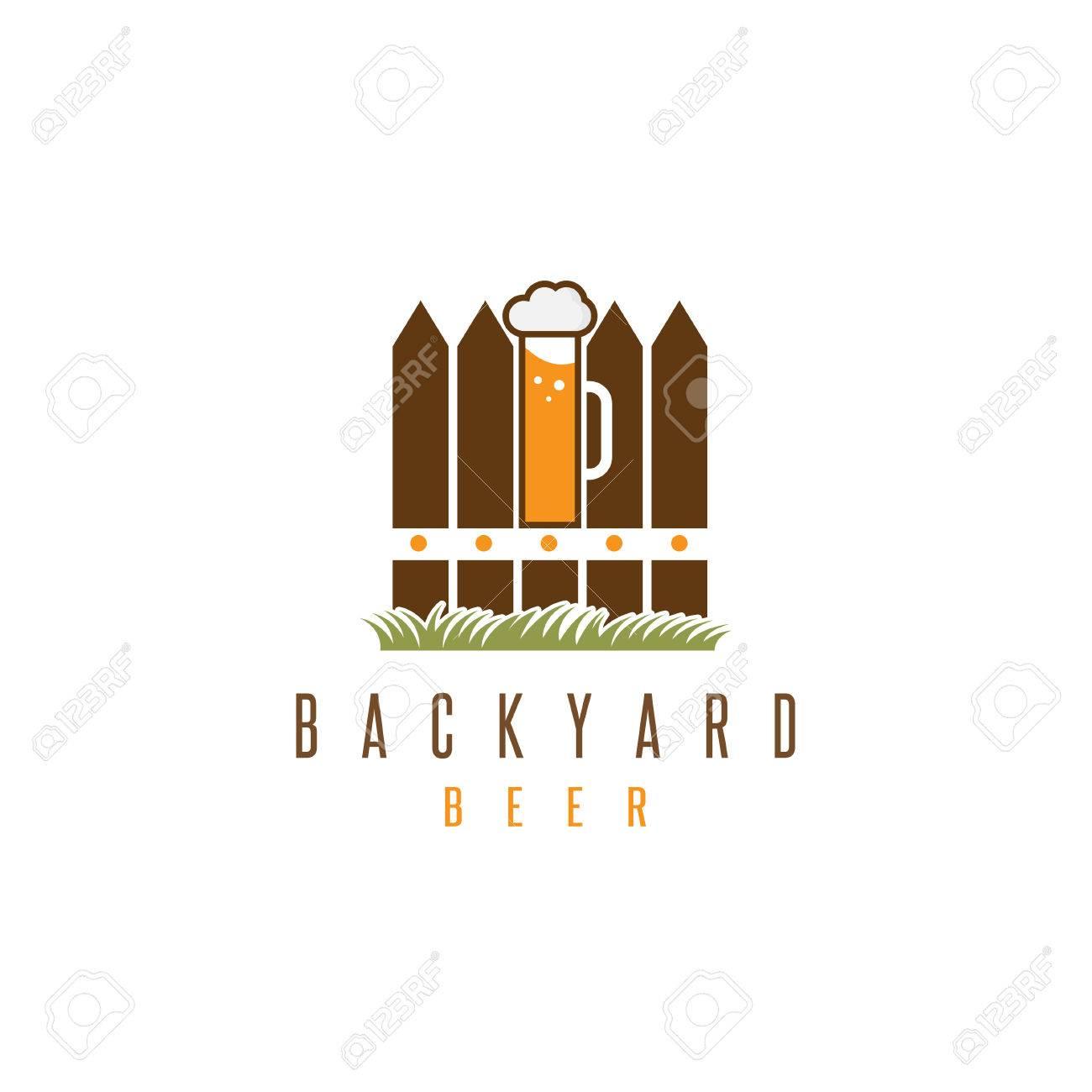 backyard beer vector design template with fence and mug royalty