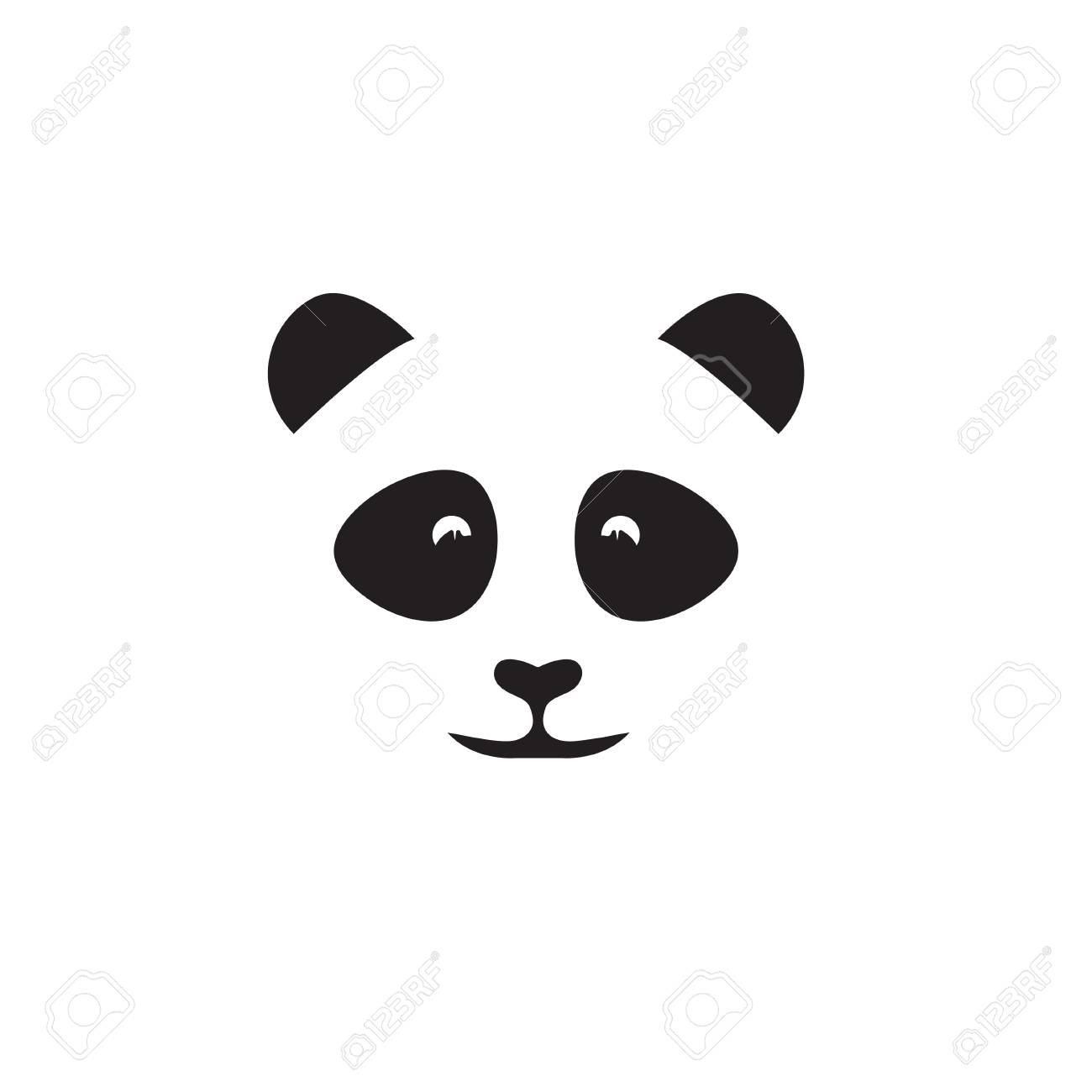 abstract face of cute panda vector design template royalty free
