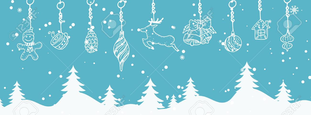 Cartoon illustration banner for holiday theme on winter background cartoon illustration banner for holiday theme on winter background greeting card for merry christmas and m4hsunfo
