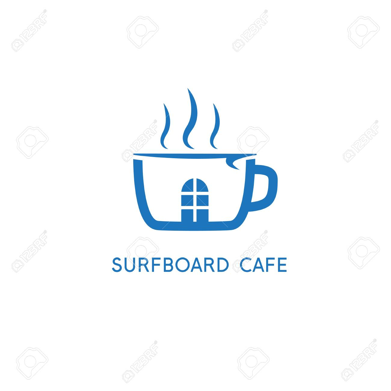 Cup Of Coffee And Surfboard Vector Design Template Royalty Free ...