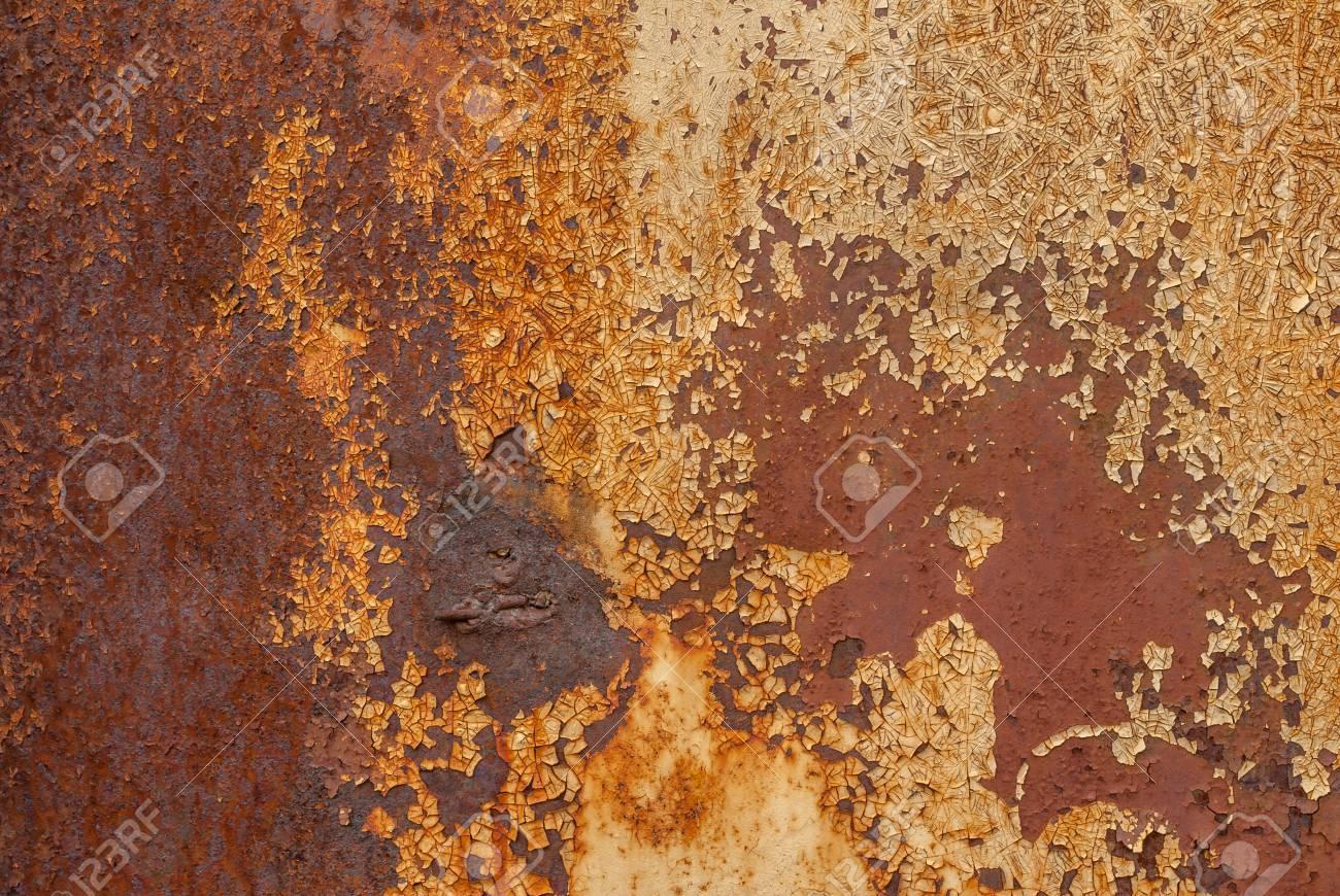 Surface De Fer Rouillée Recouverte De Vieille Peinture De Couleur