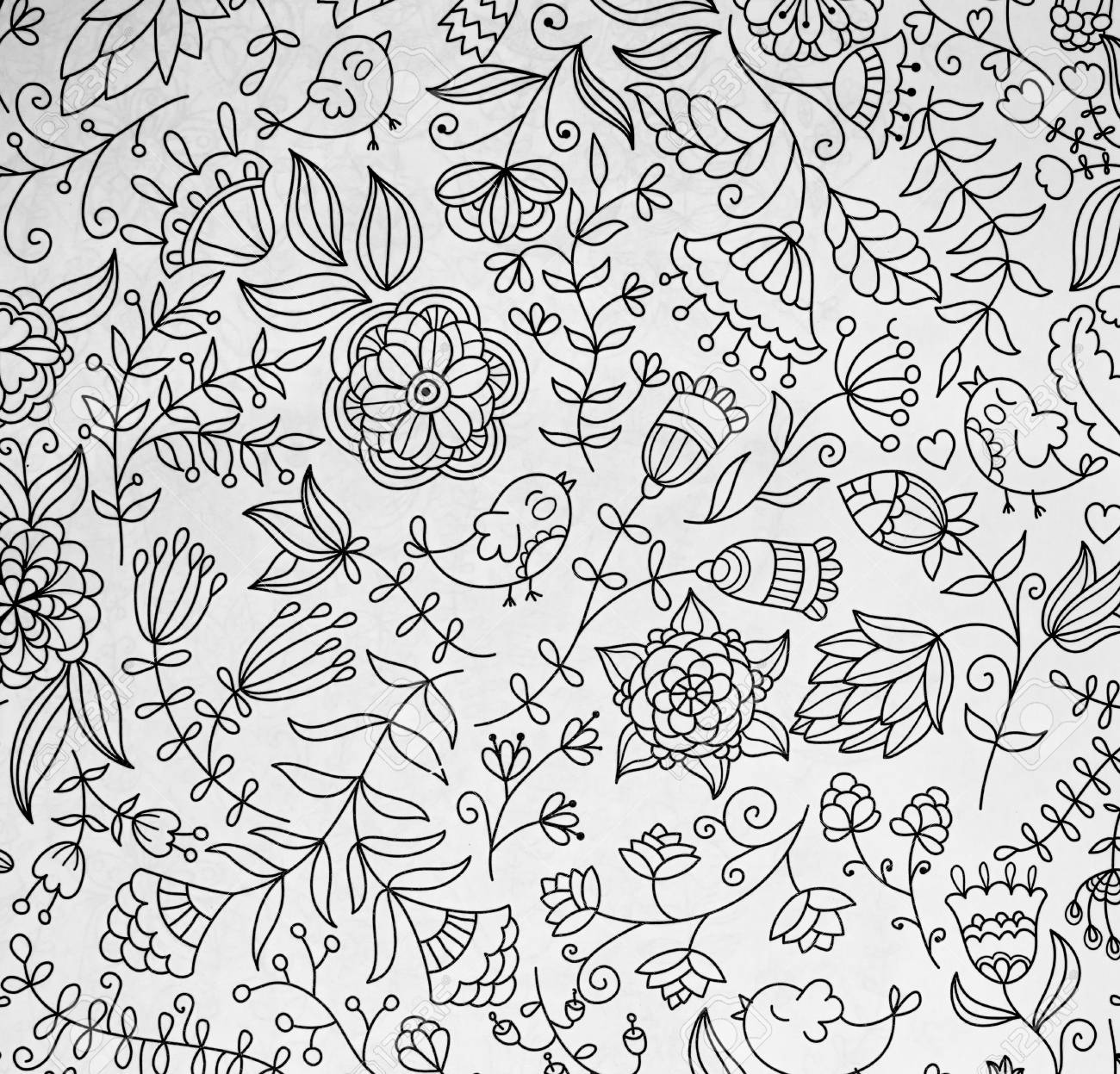 Abstraction Coloring Pages For Adultsstress Relief Top View Closeup Stock Photo