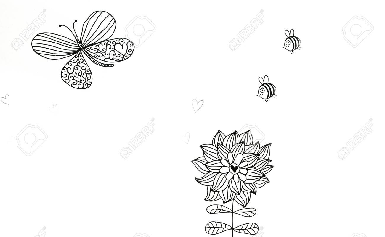 Abstracción Dibujo En Blanco Y Negro Colorear Para Los Adultos Los Colores Y El Estado De ánimo Alegre Patrón Transparente Ilustración