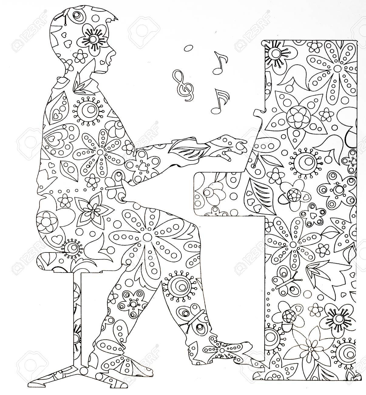- Coloring Pages For Adults Musical Instruments On White Background
