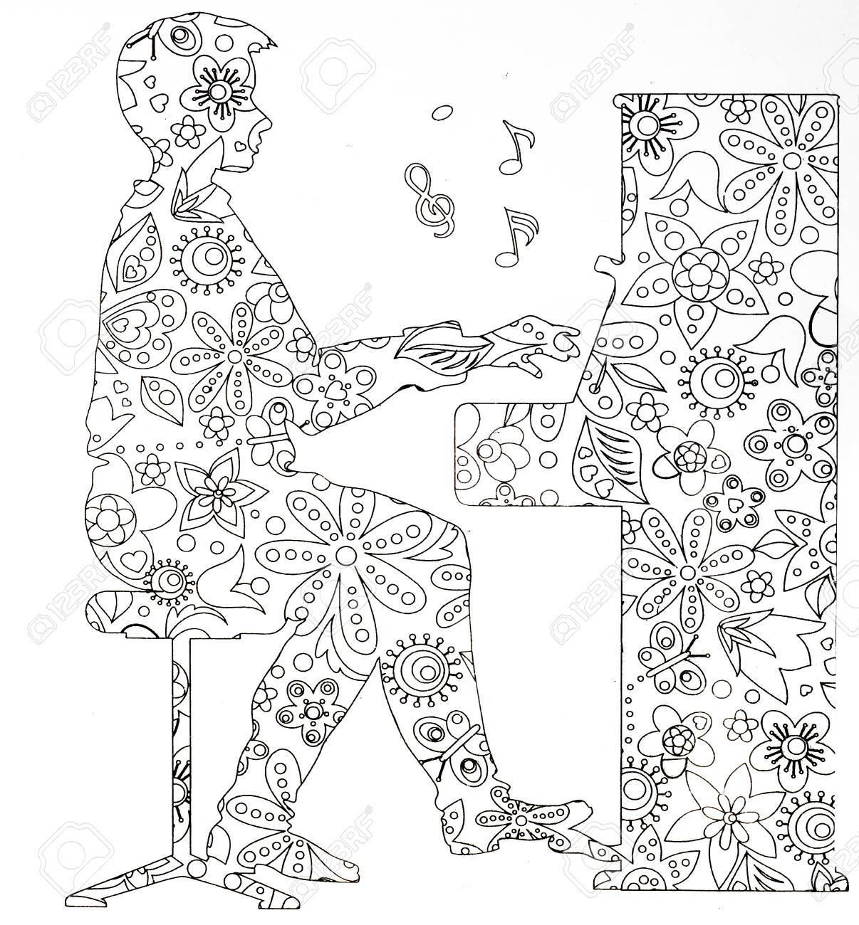 Pages à Colorier Pour Adultes Instruments De Musique Sur Fond Blanc Concept Danti Stress