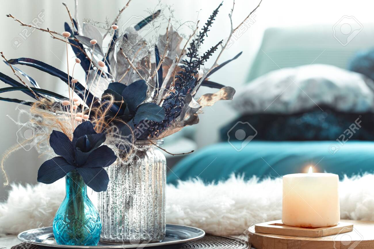 Modern Living Room With Artificial Flowers In A Vase And Home Stock Photo Picture And Royalty Free Image Image 136049165