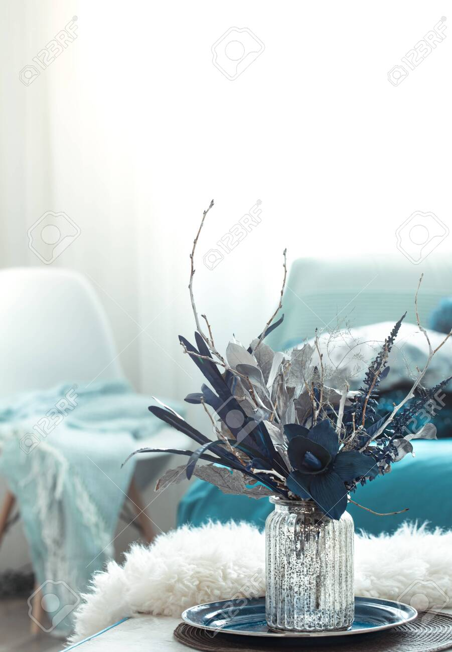 Modern Living Room With Artificial Flowers In A Vase And Home Stock Photo Picture And Royalty Free Image Image 136879550