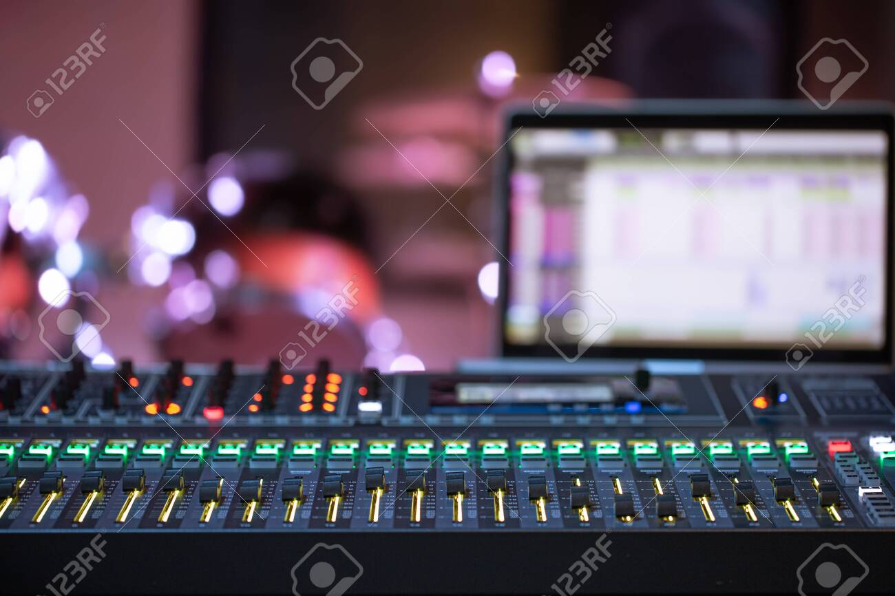 Digital mixer in a recording Studio , with a computer for recording music. The concept of creativity and show business. Space for text. - 142421529