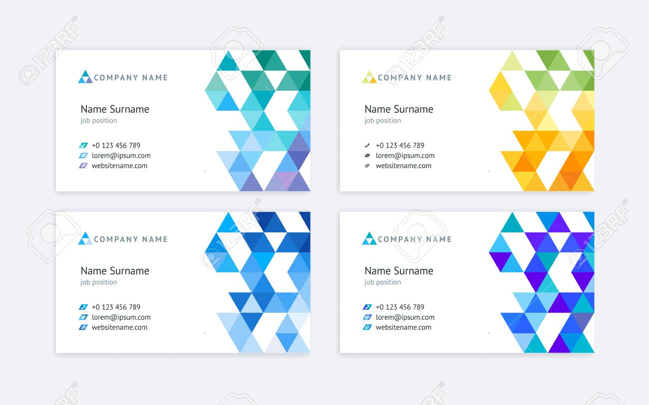 Set Of Four Abstract Vector Business Cards With Colored Triangular ...