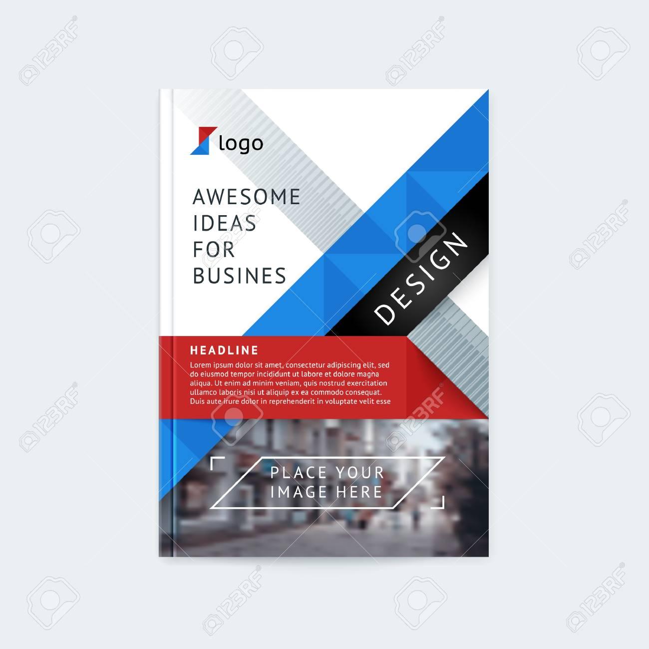 blue polygonal line brochure template flyer stock vector.html
