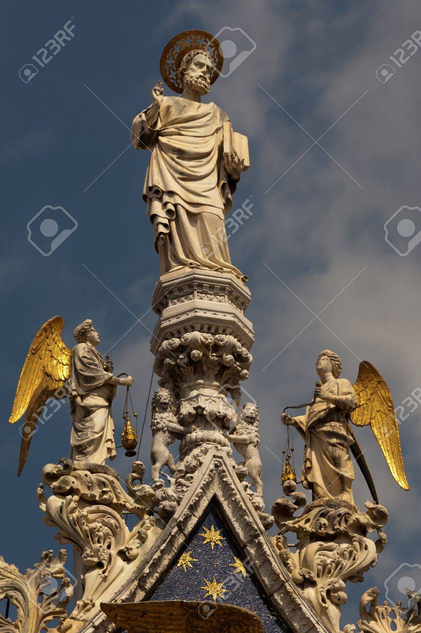 Statues St Mark And Angels Crowning The Central Arch Of The Basilica ...