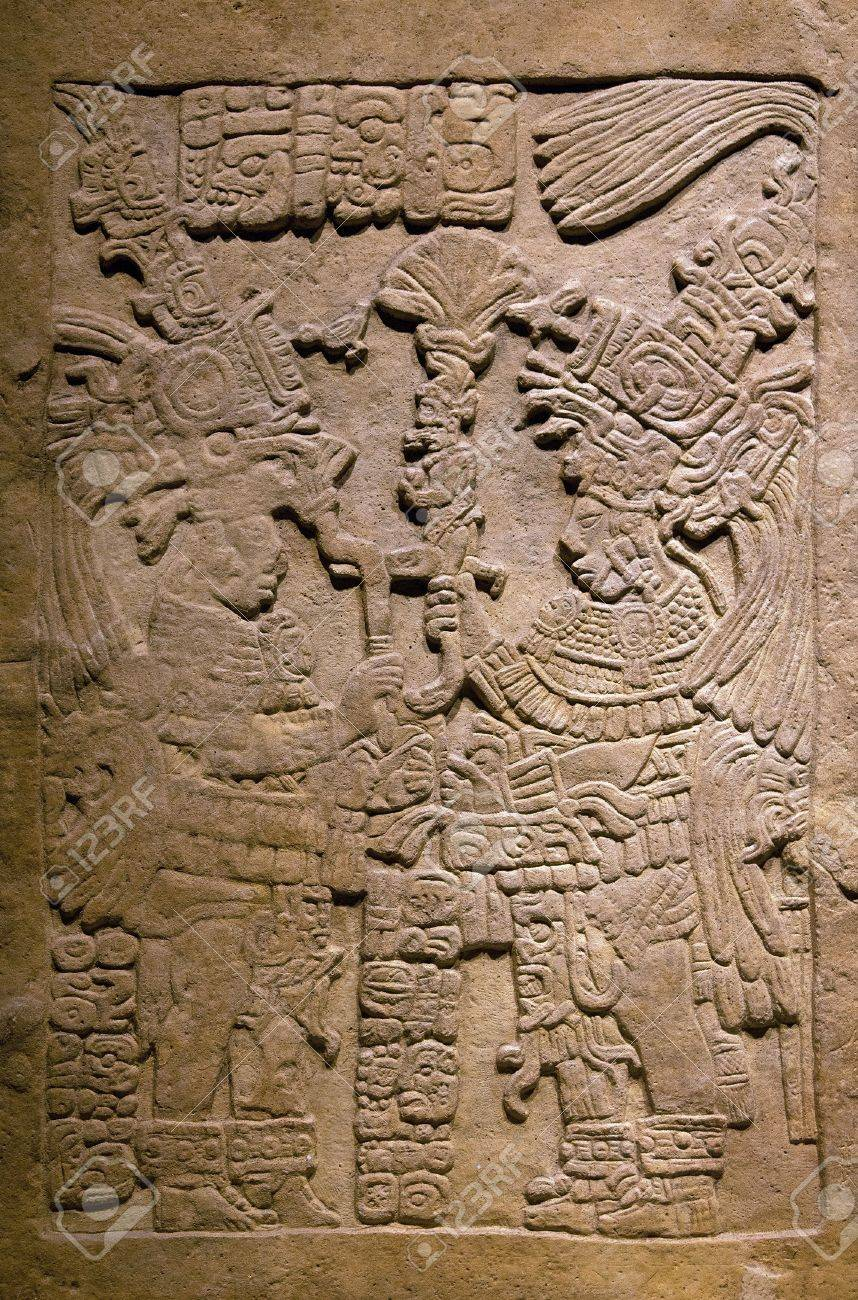 Anceint Mayan stone carving  Pre-Columbian art thrived throughout the Americas from at least, 13,000 BCE to 1500 CE Stock Photo - 16959919