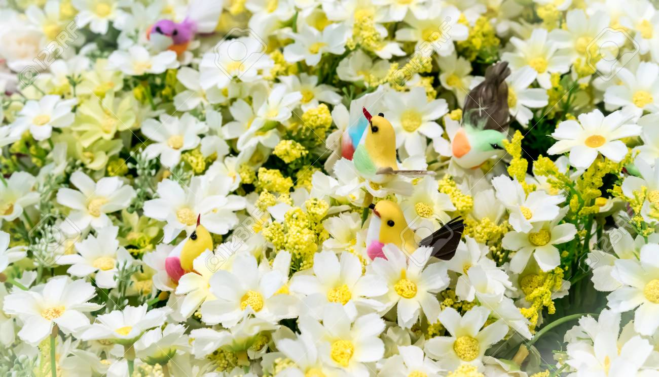 Colorful fake birds among artificial white flowers selective colorful fake birds among artificial white flowers selective focus stock photo 80481038 mightylinksfo