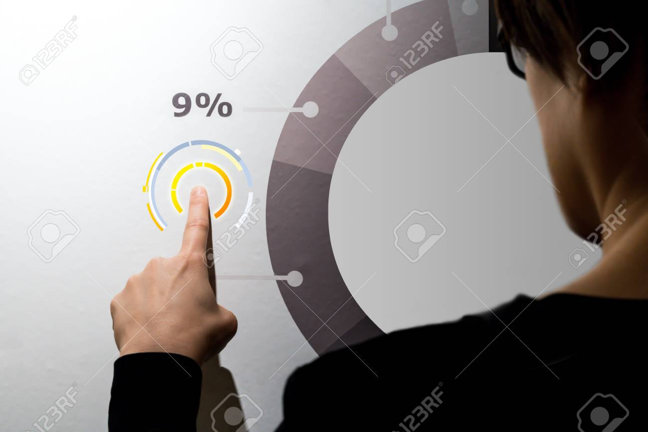 woman fingers pointing graphic diagram on digital wall business rh 123rf com