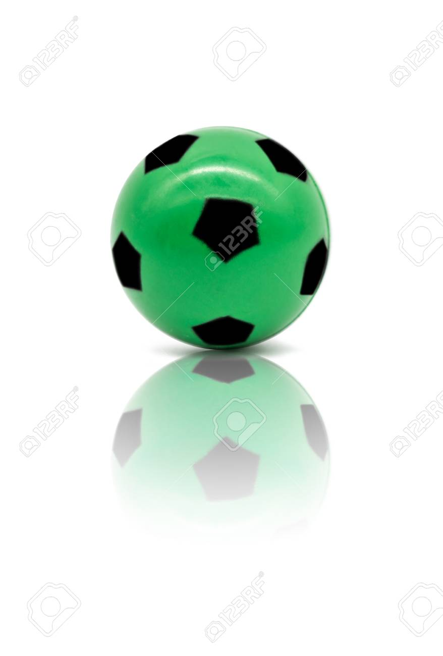 Low Quality Print Green Football Or Soccer Ball Isolated On