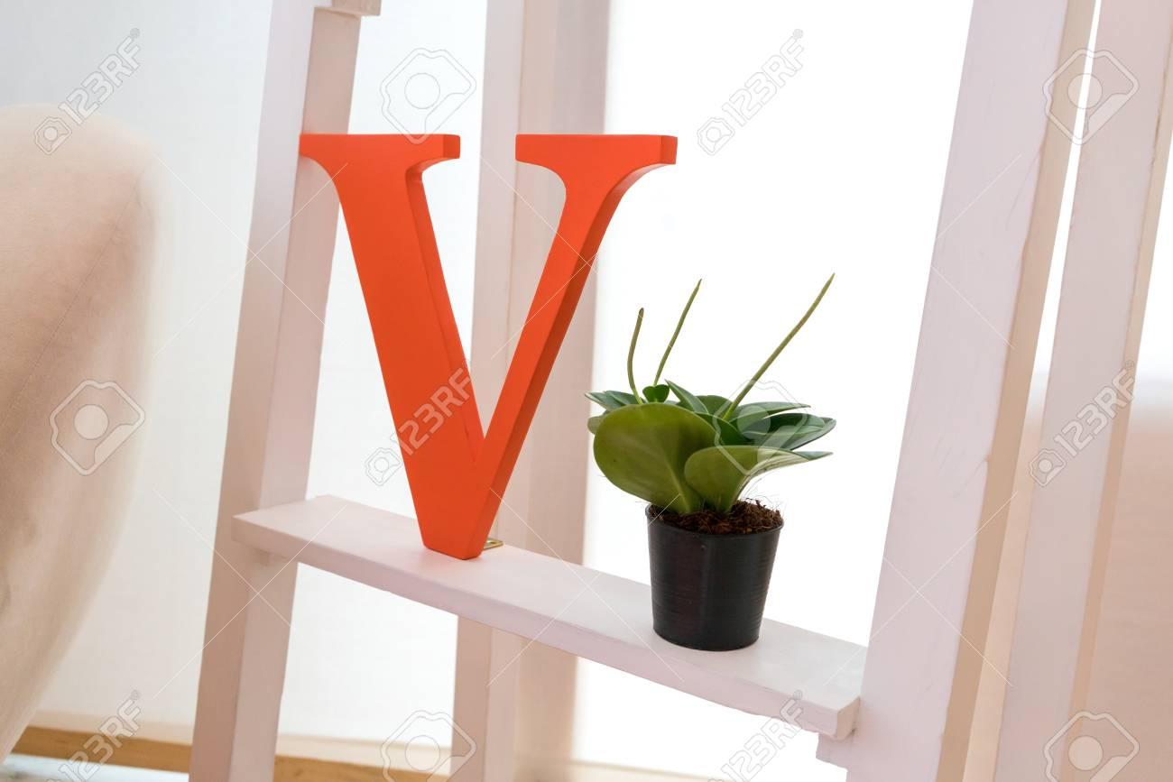 Orange Alphabet Auf Weißem Regal Mit Blume Und Orange Farbe Thema ...