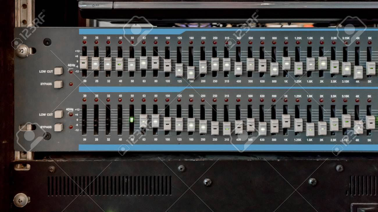 Close up of music mixer equalizer console for mixer control sound