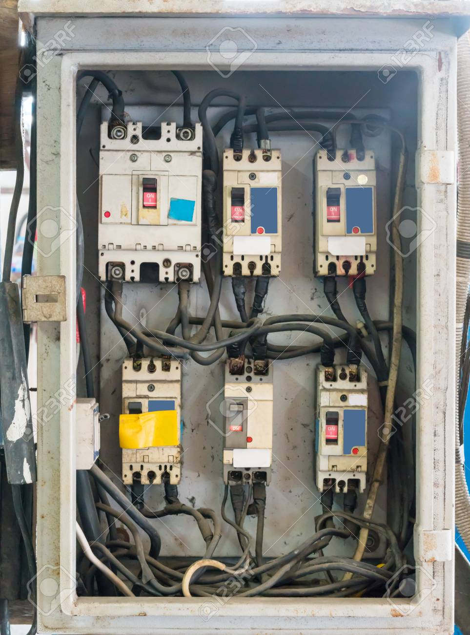 Electrical Panels, Controls And Switches In The Metal Box Stock ...