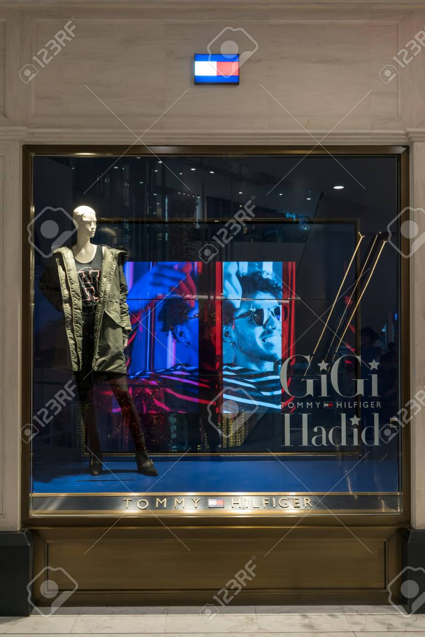 2ccef11d Stock Photo - Tommy Hilfiger at Emquatier, Bangkok, Thailand, Nov 3, 2017 :  Luxury and fashionable brand window display. Isolated mannequin with winter  ...