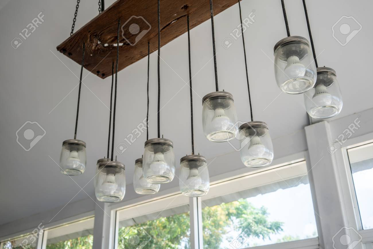Diy Lamb Design With Glass Jar And Led Light Bulb Hanging From Stock Photo Picture And Royalty Free Image Image 111209311