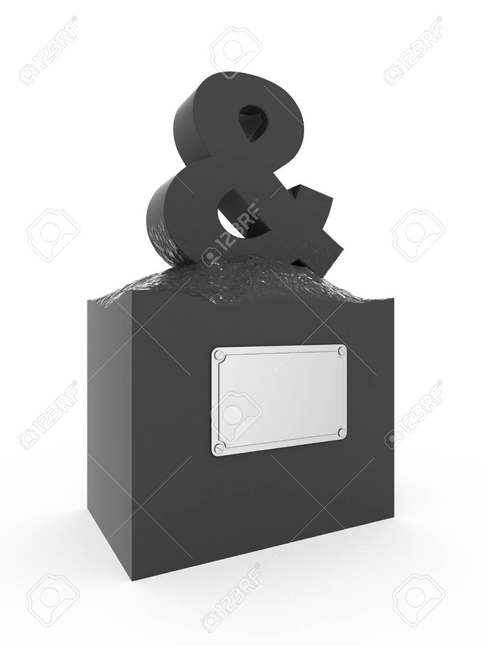 Isolated ampersand mark with empty nameboard. Stock Photo - 3342067