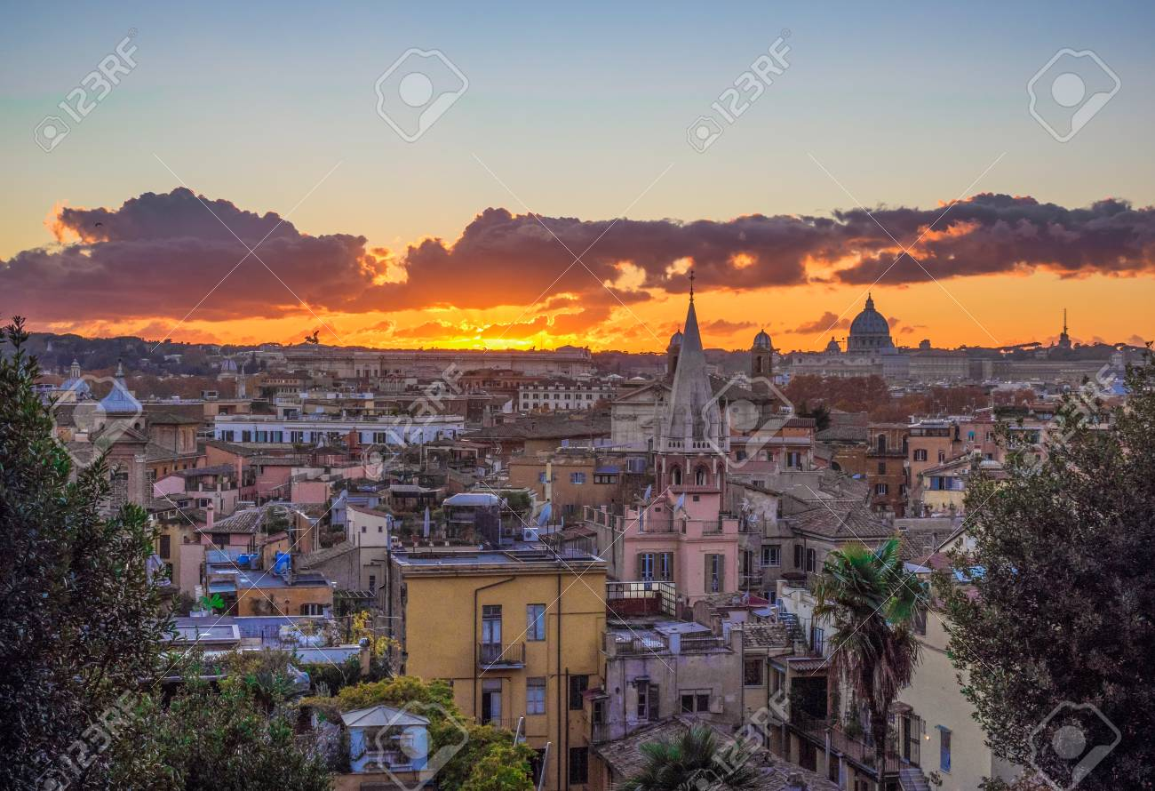 Rome Italy The Sunset From Terrazza Del Pincio Terrace In