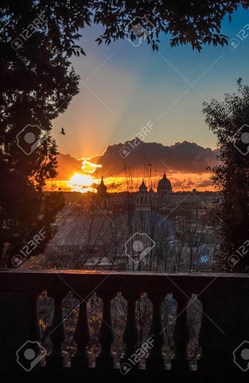 Rome Italy The Sunset From Terrazza Del Pincio Terrace In