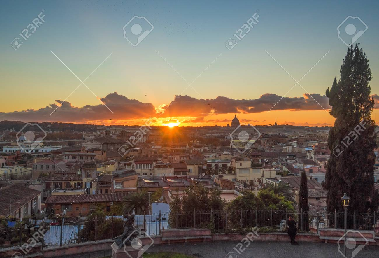 Rome (Italy) - The Sunset From Terrazza Del Pincio Terrace In ...