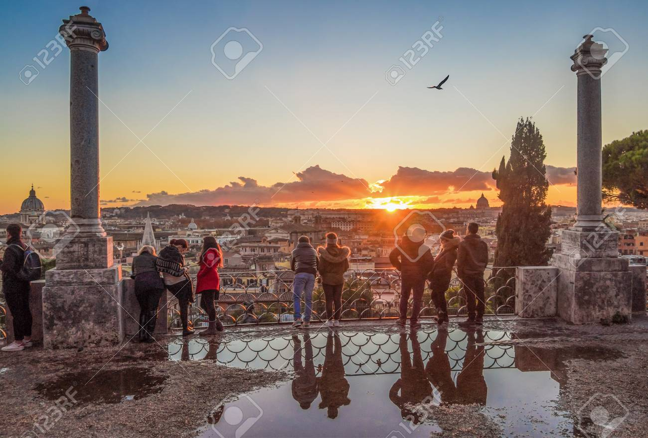 Rome Italy 1 December 2017 The Sunset From Terrazza Del