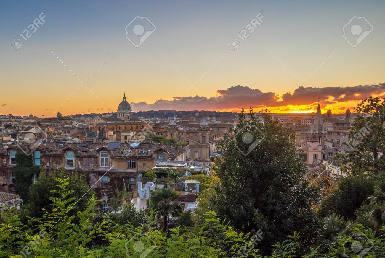 Rome, Italy - 1 December 2017 - The Sunset From Terrazza Del.. Stock ...