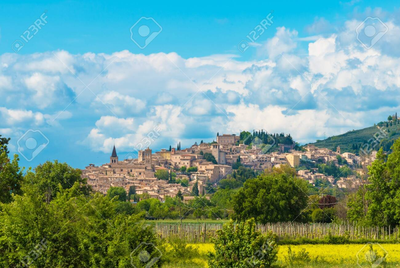 Spello (Italy) - The awesome medieval town in Umbria region, central Italy, during the spring. - 123927206