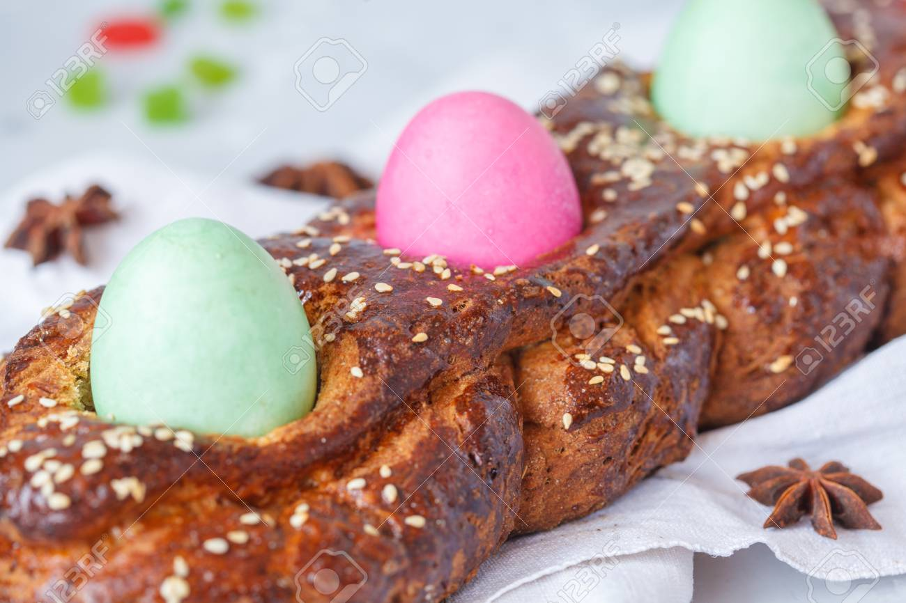 Traditional Greek Easter Bread Tsoureki In Easter Decorations