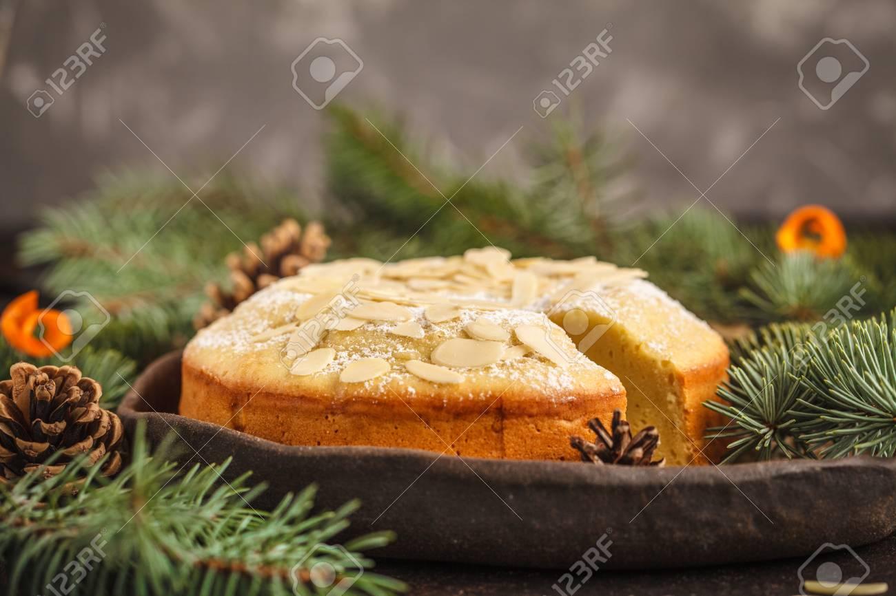 traditional christmas norwegian almond cake in christmas decorations dark background christmas dessert - Norwegian Christmas Decorations