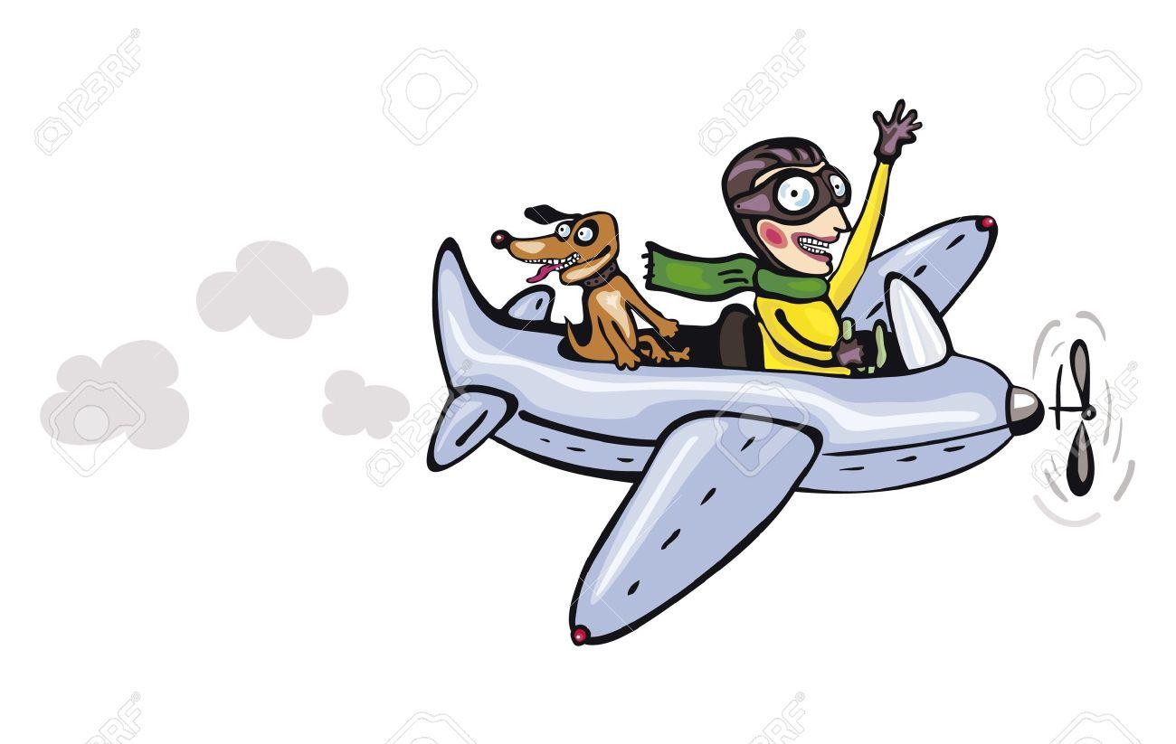 funny cartoon pilot and dog royalty free cliparts vectors and rh 123rf com airplane pilot cartoon airplane pilot cartoon