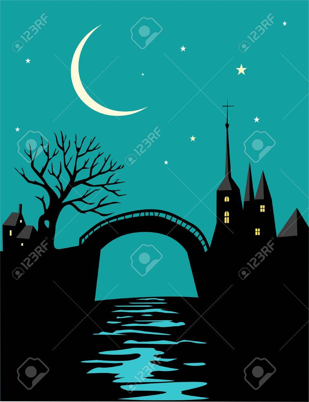 Night landscape with castle and river Stock Vector - 11407307