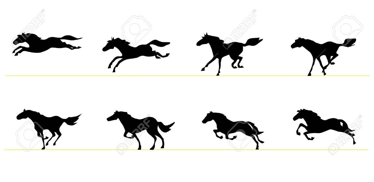 Running Horse Silhouettes Royalty Free Cliparts, Vectors, And ... for Animation Horse Running  588gtk