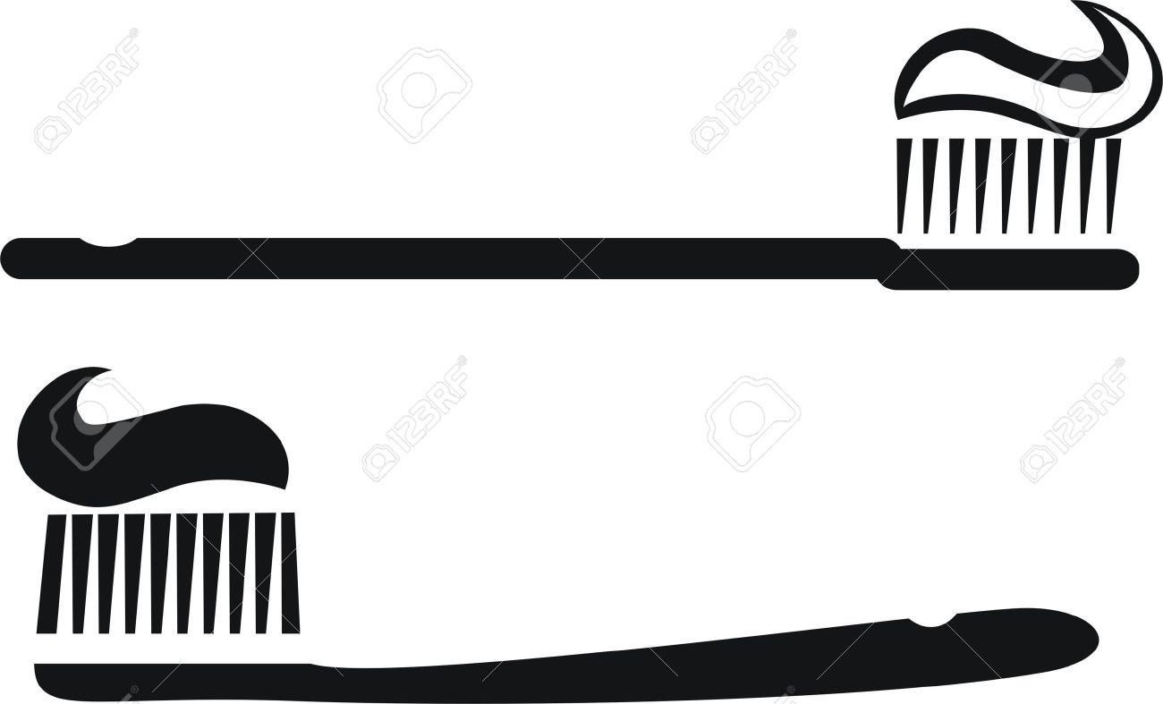 Toothbrush silhouettes with toothpaste Stock Vector - 16312163