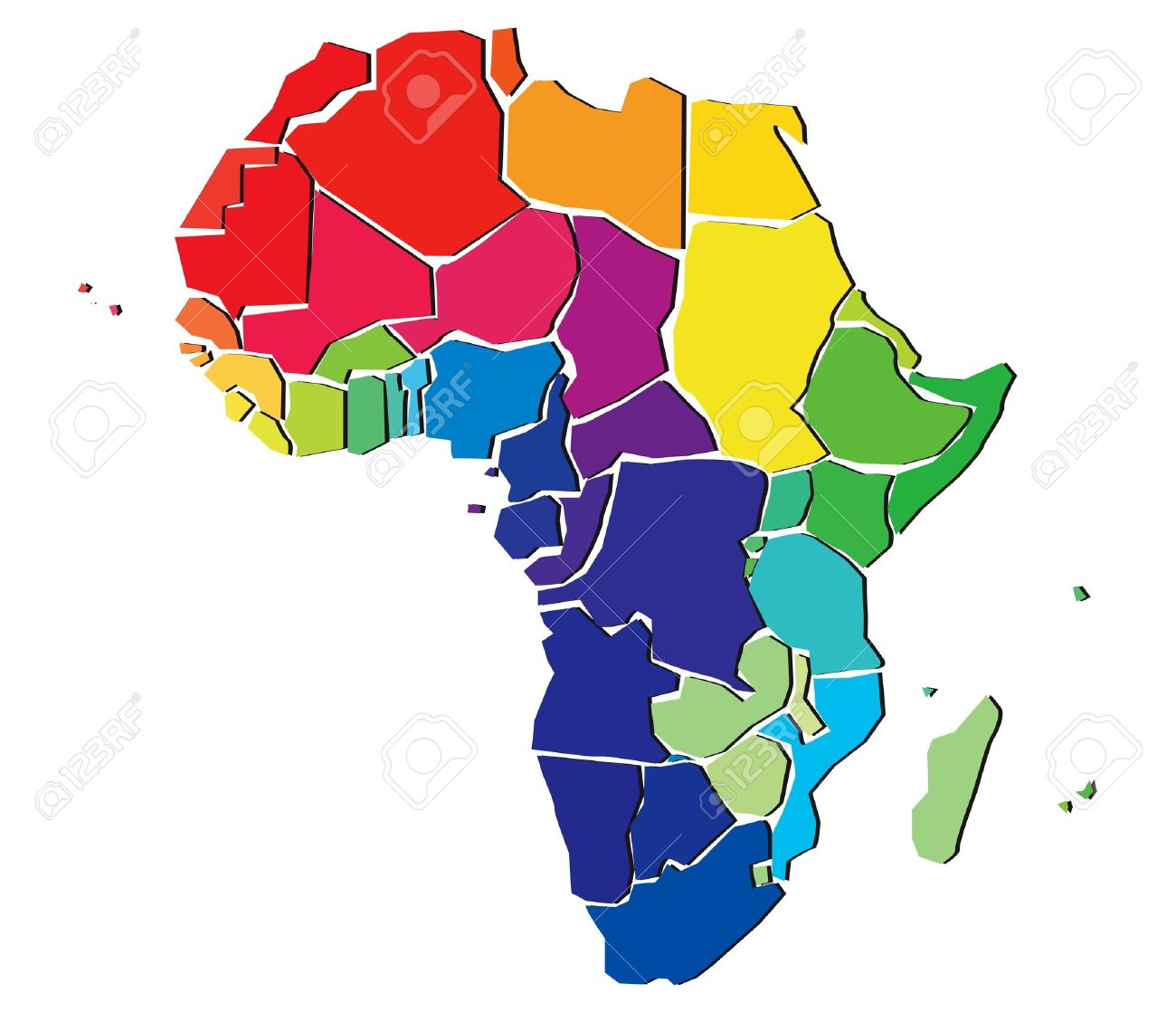 Colorful Africa Map Royalty Free Cliparts, Vectors, And Stock