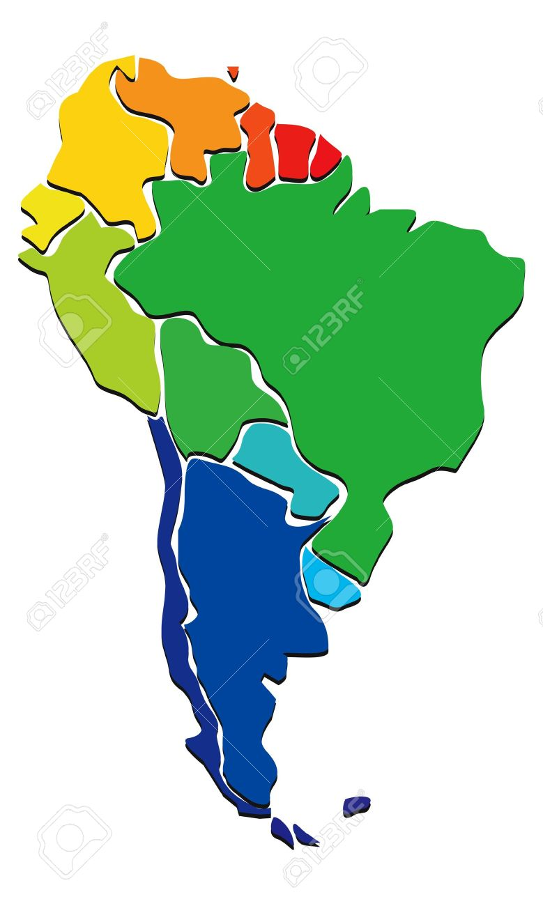 Colorful South America Map Stock Vector 19796429