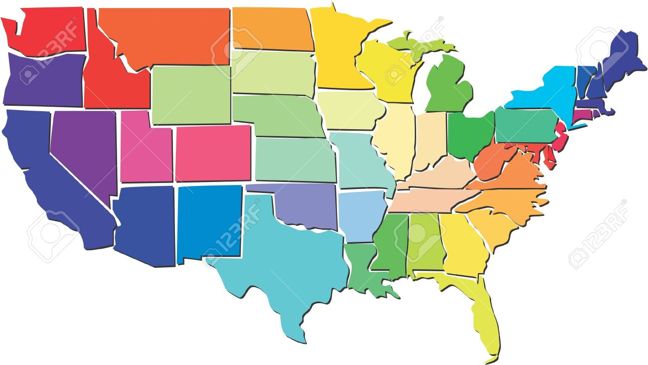 Colorful USA Map Royalty Free Cliparts Vectors And Stock - Usa map of the states