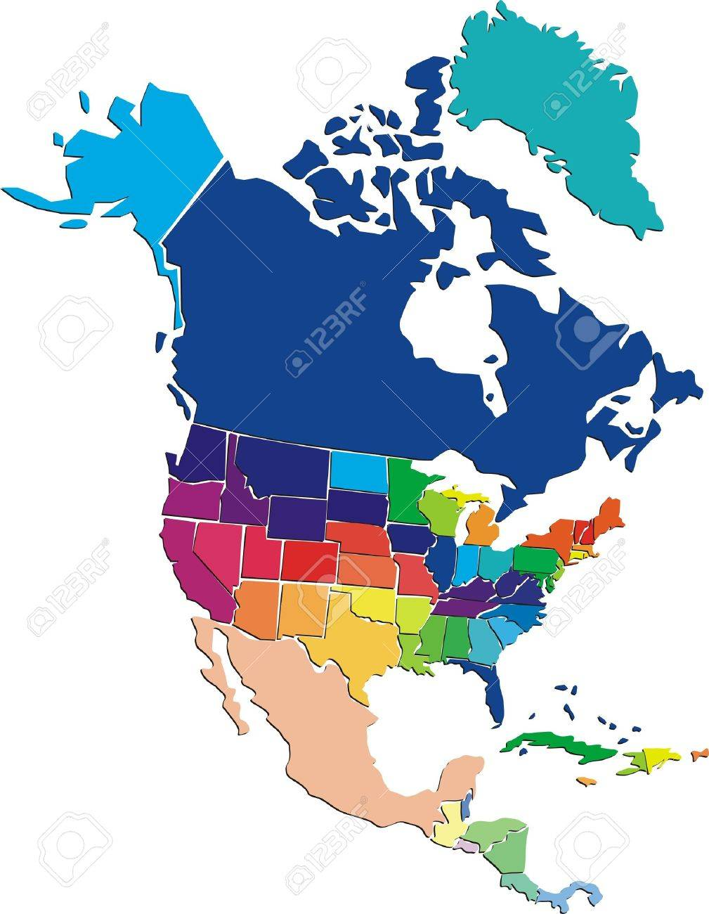 colorful north america map royalty free cliparts vectors and stock rh 123rf com north american free vector map north america vector map download