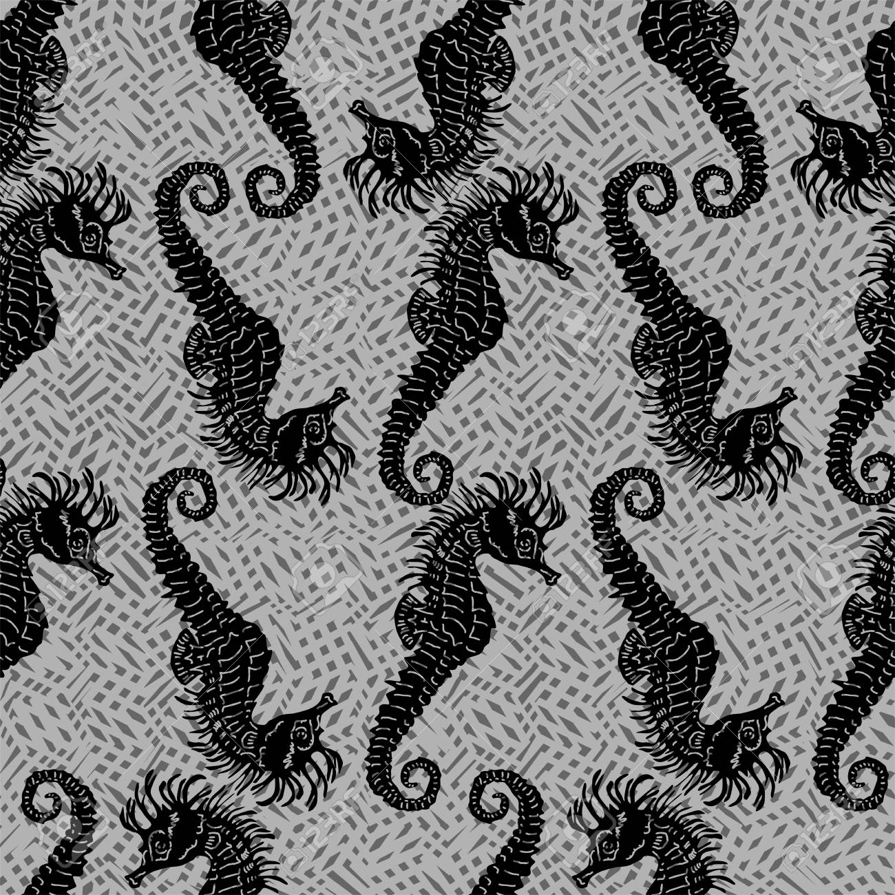 Seamless vector pattern with seahorses Stock Vector - 21735216