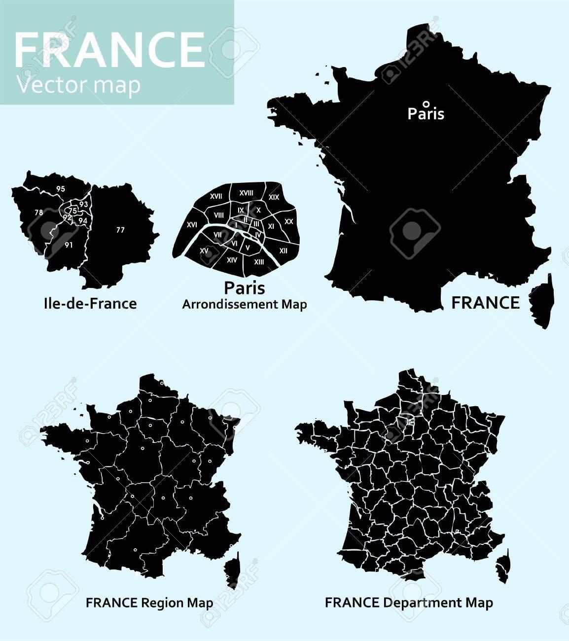 Cartes De France Avec Les Departements Les Regions Et Paris Clip Art Libres De Droits Vecteurs Et Illustration Image 29880122